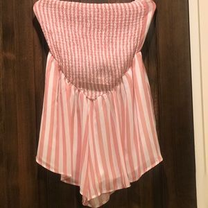 Large pink and white strapless romper from ZAFUL